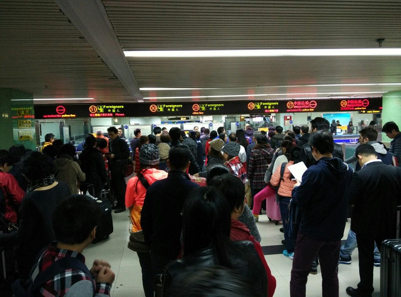 Очередь на границе с Гонконгом